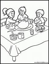 Coloring Dinner Table Pages Thanksgiving Eating Dining Bedroom Drawing Sketch Printable Feast Sheets Popular sketch template