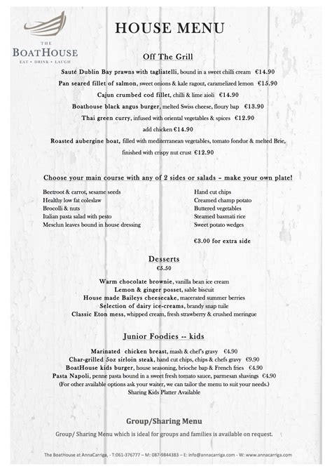 Boathouse Lunch Menu by The Boathouse Bar Restaurant Annacarriga Estate