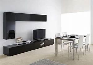 Banc Tv Design : banc tv avec tiroir laqu noir design standard l achatdesign ~ Teatrodelosmanantiales.com Idées de Décoration