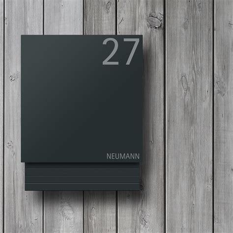 moderner design briefkasten anthrazit mit beschriftung