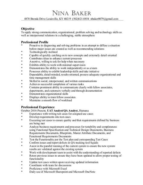Baker Resume Objective Sles by Baker Resume Feb 2015 Doc