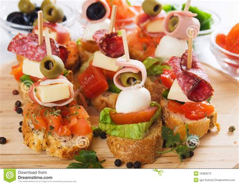 canapes italien canape with food ingredients stock photos image