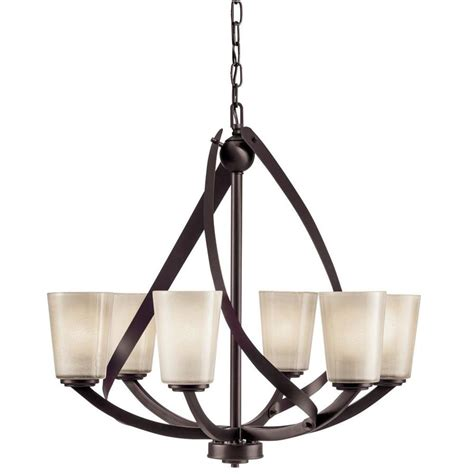 shaded chandelier kichler layla 6 light olde bronze modern contemporary