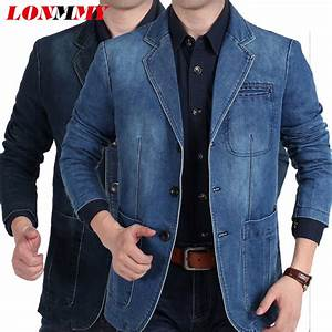 LONMMY Jeans blazer men 80% Cotton Cowboy jacket Denim jacket men blazer Suits for men jaqueta ...