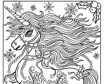 christmas unicorn coloring pages  getcoloringscom
