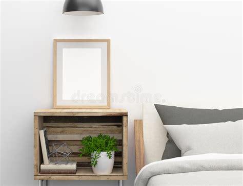 blank frame mockup  bedroom side table stock