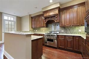 Pictures of kitchens traditional medium wood cabinets for Brown kitchen cabinets