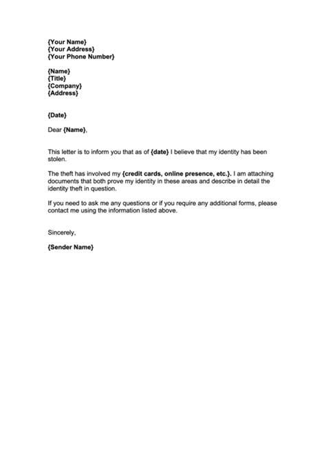 stolen identity report  fbi letter template printable