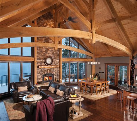 Mountain Timber Frame Home in Canada   Rustic   Living