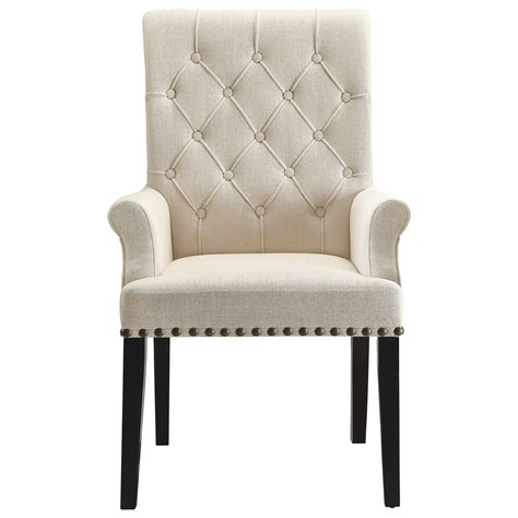 coaster parkins upholstered dining arm chair dunk