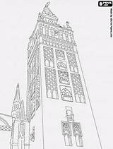 Spain Sevilla Cathedral Coloring Giralda Seville Almohad Mosque Dessin Eid Minaret Monuments Colouring Tour Oncoloring Landmarks Drawing Torres sketch template