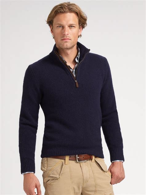 ralph polo sweaters polo ralph halfzip merino sweater in blue for