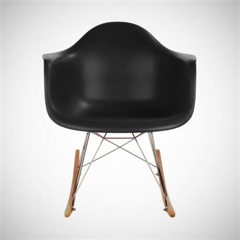 eames style rar molded black plastic rocking chair with