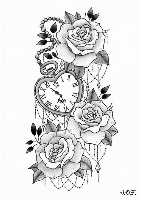 Roses with heart-shaped clock - 12/2017 | Tatuagem feminina, Tatuagem e Fotos tatuagem feminina