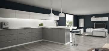photo cuisine grise  blanche idee de modele de cuisine