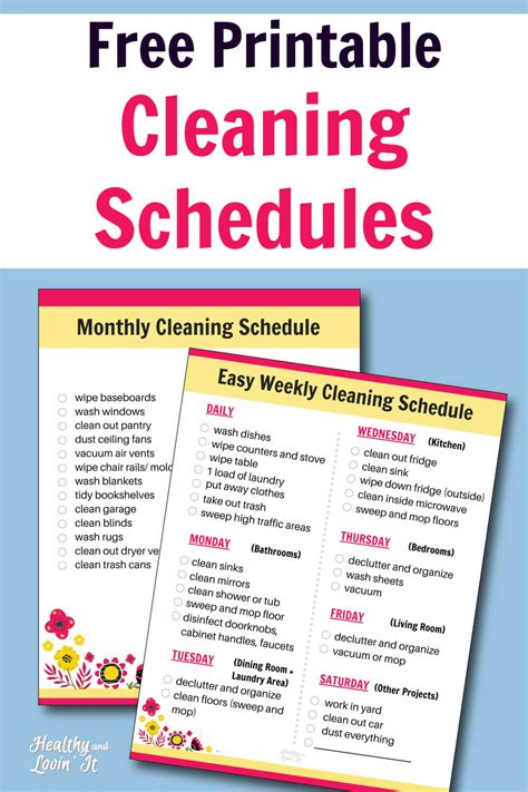Free Printable Cleaning Schedule - Daily, Weekly, and ...
