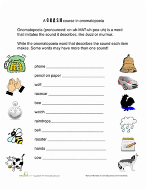onomatopoeia words worksheet education