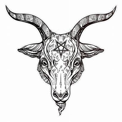 Goat Satanic Baphomet Head Symbol Pentagram Demon