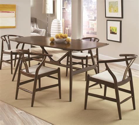 kersey 5 piece dining set with mid century modern legs