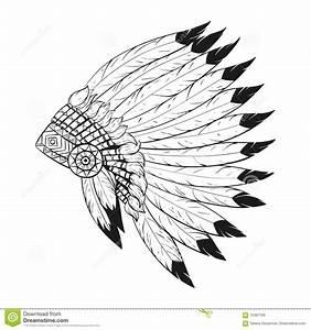 Vector Monochrome Illustration Of Native American War ...