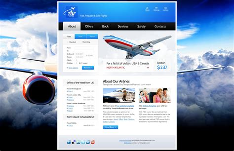 air r駸ervation si鑒e free website template for airlines company