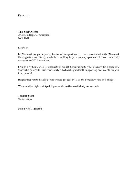 visa covering letter format best template collection free