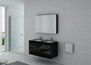 Meuble De Salle De Bain Double Vasque : meuble double vasque noir dis1200n meuble de salle de ~ Melissatoandfro.com Idées de Décoration