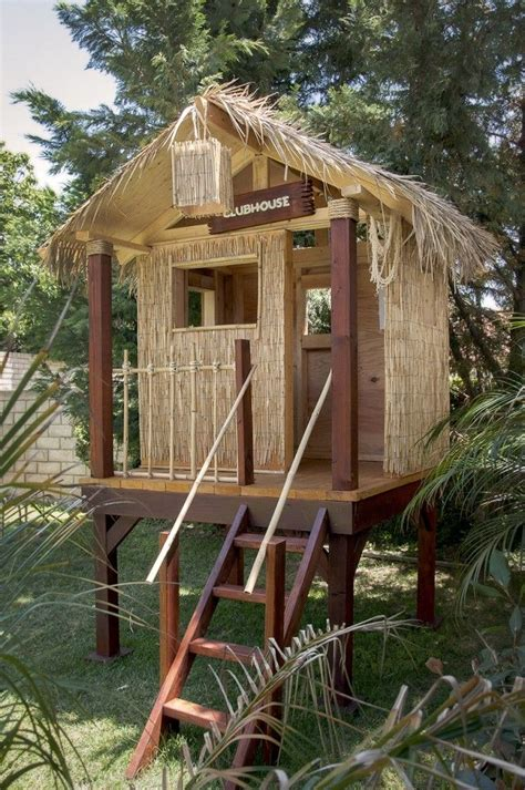 tiki hut    completed backyard clubhouse