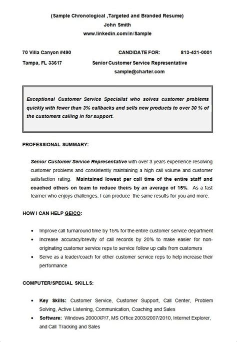 Non Chronological Resume Exle by Cv Sle Chronological Resume Templates What
