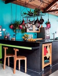 cuisine ouverte peinture bleu turquoise tendance With palette couleur peinture mur 14 amenagement optimise et deco pour ma cuisine ouverte