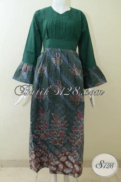 dress batik model panjang  wanita berhijababaya