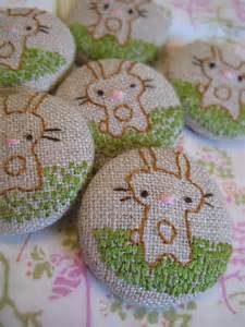 Embroidered Bunny Buttons