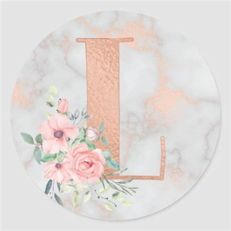 rose gold marble pink flowers monogram letter  classic  sticker zazzlecom