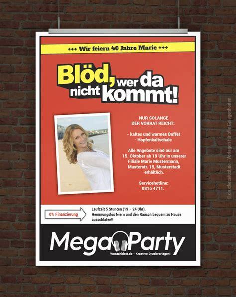 drucke selbst megaparty einladung bloed wer da nicht kommt