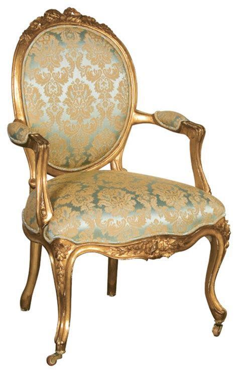 versailles damask gold seat traditional armchairs and