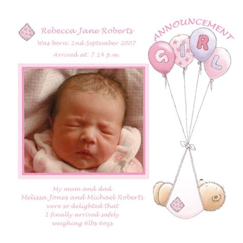baby card ag girl birth announcement buy personalised