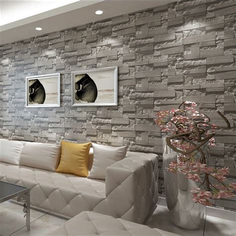 print grey brick stone wallpaper vintage rustic stacked