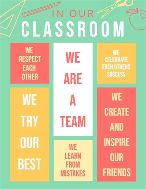 modern classroom rules editable  printable poster