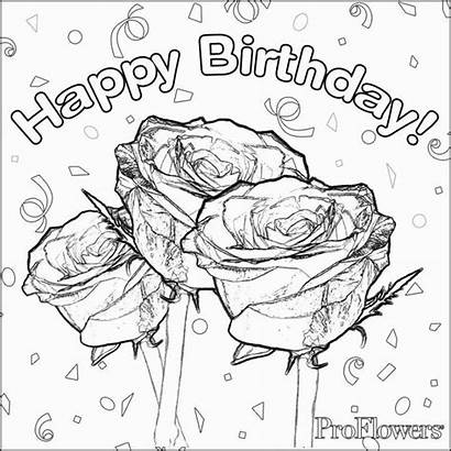 Coloring Birthday Happy Mom Pages Rose Card