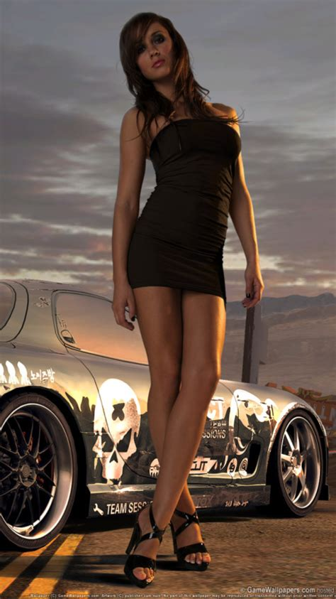 sport cars with girls standing next to sport car wallpaper for nokia n9