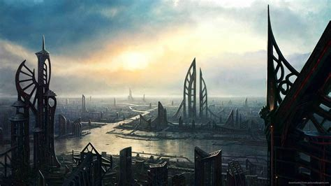 1920x1080px futuristic cityscape wallpaper hd