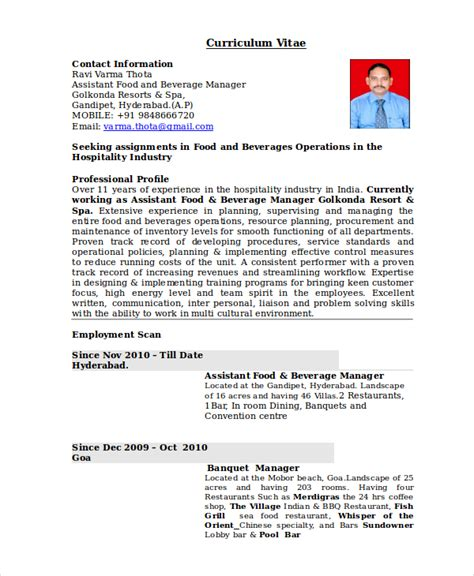 Resume Templates For Restaurant Managers by Restaurant Manager Resume Template 6 Free Word Pdf