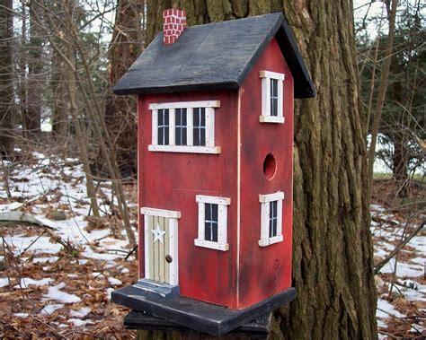 Primitive Birdhouse Folk Art Rustic Country Red Salt Box