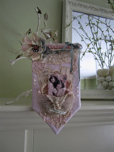 shabby chic fabric wall hangings pink victorian style wall hanging shabby chic decor