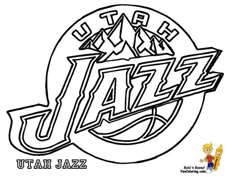 Utah Jazz Nba Basketball Teams Logos Coloring Pages Inside