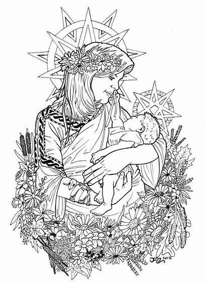 Coloring Pages Mother Child Adult Adults Ostara