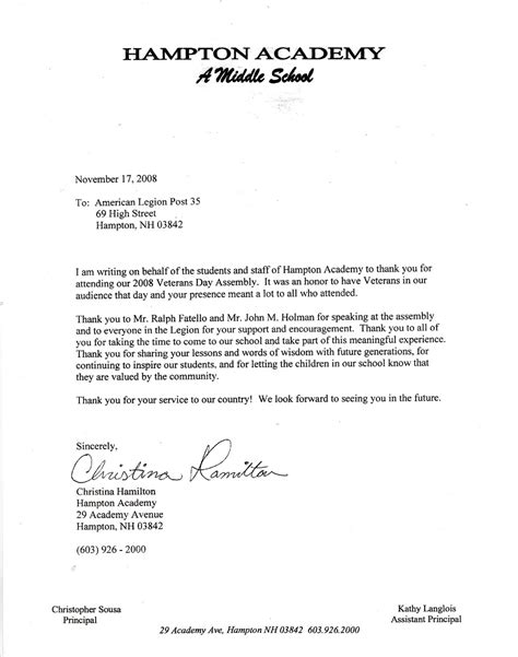 These sample letter templates will make a great starting point. Thank You letter from Christina Hamilton, HA.   Lane ...