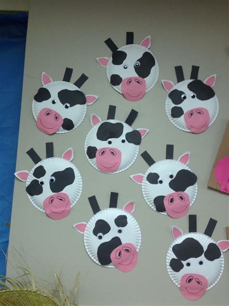 crafts actvities and worksheets for preschool toddler and 881 | paper plate cow