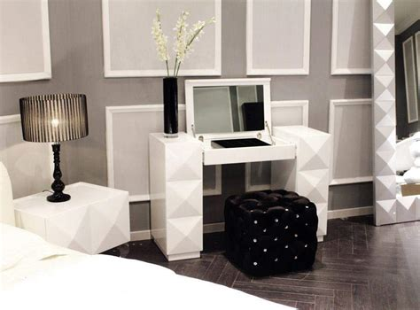 white lacquer contemporary vanity with folding mirror and