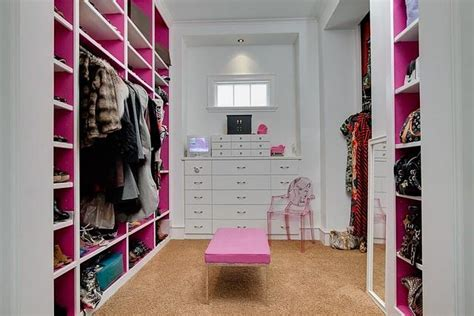 pink walk in wardrobe white and pink closet with enough space for shoes and purses i like closet pink closet